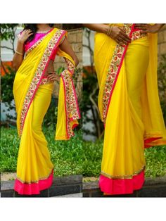 Yellow Color 60gm Georgette Saree