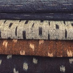 """thecompanionseye:  """" In love with these Japanese selvedge Ikat-Kasuri textiles.  #ikat #indigo #selvage  """""""