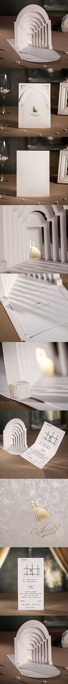 Wishmade 50x Elegant 3D Laser Cut Wedding Invitations Cards Kits with Groom and Bride in Palace Pattern Paper Cardstock for Wedding(set of 50pcs)CW3079