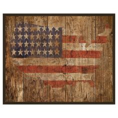 Enjoy a touch of Americana with this rustic wall decor, featuring a flag motif in the shape of the United States. Hang it in your parlor for a patriotic pop,. Framed American Flag, Small American Flags, American Flag Wood, American Decor, American Girl, Map Wall Decor, Rustic Wall Decor, Rustic Americana Decor, Primitive Decor