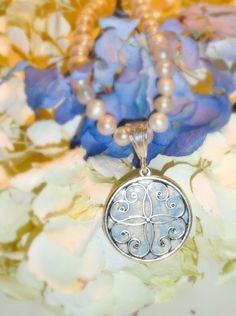 MEMORIAL NECKLACE Filigree circle made with by myflowersforever, $84.95