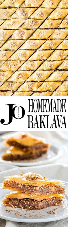 A Classic Baklava Recipe made with phyllo pastry, ground pecans and drizzled with a sweet honey syrup. Crisp and tender, flaky and delicious, this baklava will surely impress! Cold Desserts, Sweet Desserts, Holiday Desserts, Just Desserts, Delicious Desserts, Yummy Food, Baking Recipes, Cookie Recipes, Dessert Recipes