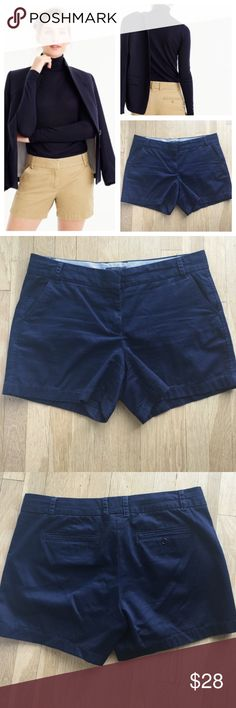 """J.Crew navy chino city fit cotton shorts Cute navy shorts. 100"""" cotton material.  Two pockets in the front. Zipper and loop closure. Size 14. Approximate measurements 37"""" waist, 14.5"""" length, 10"""" front rise, 5"""" inseam, 12.5"""" leg opening. J. Crew Shorts"""