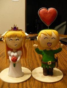 Princess Zelda and Link cake toppers.