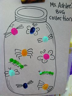 Fingerprint busy bug preschool craft Cute-you print or draw the jar and bugs, kids glue on the colored pompoms. Preschool Projects, Daycare Crafts, Classroom Crafts, Preschool Activities, Preschool Bug Theme, Classroom Ideas, Classroom Door, Toddler Art, Toddler Crafts