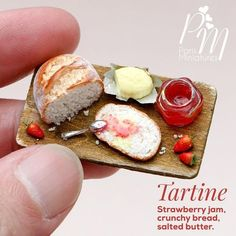 My breakfast in miniature! Tartine (open sandwich) with strawberry jam and salted butter www.parisminiatures.etsy.com