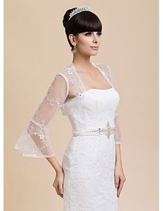 d470dae05f5a Long Sleeves Tulle Bridal jacket Wedding wrap