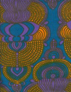 "Vintage Finnish Finlayson ""Color1"" Fabric designed by Pirkko Hammarberg in 1969."