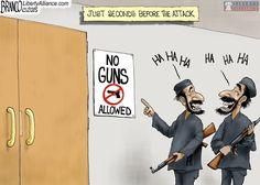 AF Branco illustrates meaninglessness of 'no guns' sign