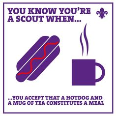 You know you're a Scout when...you accept that a hotdog and a mug of tea constitutes a meal!