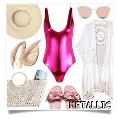 """metallic swimwear"" by lovedreamfashion ❤ liked on Polyvore featuring Do Everything In Love, Boohoo, Mark & Graham, Puma, Stephane + Christian, Pink, swimwear and metallicswimwear"