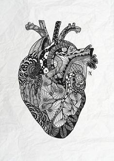 Art, drawing, doodles, illustration, in zentangle Symbol Tattoos, 1 Tattoo, Tatoos, Anatomy Art, Heart Anatomy, Anatomy Tattoo, Anatomy Drawing, Illustration Art Nouveau, Anatomical Heart