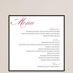 Always Forever Love Menu Card | Wedding Menu Cards