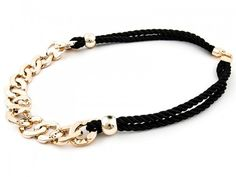 Fashionable necklace made of black strings with a golden chain - beautiful!