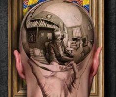 Tatuagem hiper-realista na cabeça inspirada na obra de M.C. Escher.