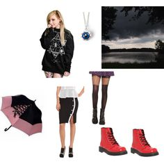 Goth: A Storms Coming! Gothic outfit to wear on rainy day so that has a cool and mysterious vibe to it. Go to http://unseensideofthescene.blogspot.com/2013/08/goth-storms-coming.html?m=1 #gothic #goth #outfit #rain #rainydays #boots #red #black #sweatshirt #usots #unseensideofthescene #blog #fashion #altgirlsofcolour