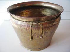 Brass Planter Vintage Hammered Brass Vintage by TrellisWeddingware, $39.00