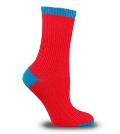 Kırmızı Mavi Kışlık Bayan Çorabı