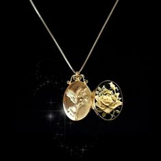 Sterling-Silver925-Slim-Photo-Locket-Pendant-YELLOW-ROSE-UP-GP-Necklace-Chain