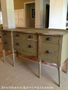 Paint with CeCe Caldwell cinco bayou moss and buff with aging wax.  Change out drawer pulls!