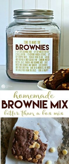 Brownie BETTER THAN BOX Mix Never run out of brownie mix again! Make your own brownie mix for making brownies anytime. Use 2 cups for the perfect recipe! Free printable label, which makes it easy for homemade gift ideas See the recipe on TodaysCre Homemade Dry Mixes, Homemade Brownie Mix, Homemade Brownies, Homemade Seasonings, Homemade Spices, Brownie Jar, Homemade Sweets, Vegan Brownie, Homemade Recipe