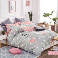 Source Hot sale 100% cotton/200TC bedding set with flamingo printing on m.alibaba.com