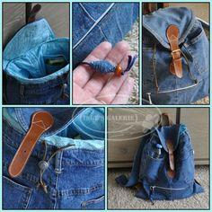 Van een oude spijkerbroek heb ik deze leuke rugzak gemaakt. Sluiting komt weer van een andere oude tas. In de zak is een oude blouse verwerkt. Zo heb je gelijk binnenzakken.   Recycle! Jeans And Vans, Diy Jeans, Recycle Jeans, Diy Backpack, Diy Clothes, Knit Crochet, Pouch, Backpacks, Purses