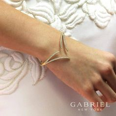 Diamond Bangle by Gabriel & Co. Style #BG3995 Shop this look online and more by Gabriel & Co. with FREE Shipping! www.trevifinejewelry.com/gabriel-fashion #GabrielCoRetailer #GabrielNY #Gabrielandco
