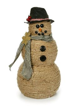 Make this adorable Jute Wrapped Snowman to fit in with shabby chic Christmas decor. See instructions, or find other Christmas crafts from Pat Catan& Snowman Crafts, Christmas Projects, Crafts To Make, Holiday Crafts, Holiday Ideas, Creamer Bottles, Twine Crafts, Diy Gifts For Mom, Navidad Diy