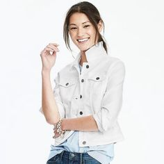 "✨HP✨ Banana Republic Classic White Denim Jacket Preloved condition with minor signs of wear, such as a few dark spots that could be bleached out easily. Similar style seen on Gigi Hadid. No trades. Pics #1-2 c/o Banana Republic. Host Pick ""Off Duty Chic"" 7/12/14, ""New Year, New You"" 1/1/15, ""Spring Staples"" 5/12/16 and ""Classic Chic"" 8/27/16. Banana Republic Jackets & Coats Jean Jackets"