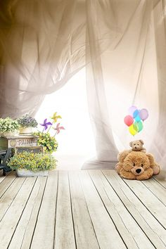 Amazon.com : 6.5ft(h)x5ft(w) Cute Children Photography Backdrop Bear on Grey Wood Floor and Tan Curtain Photo Background for Child FT048 : Camera & Photo