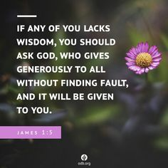 """James 1:5  """"If any of you lack wisdom, let him ask of God, that giveth to allmenliberally, and upbraideth not; and it shall be given him.""""  King James Version (KJV)"""