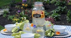 Serve fresh fruit-infused water in a delightful beverage dispenser.  Time to enjoy the garden and company!