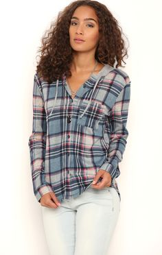 Deb Shops Long Sleeve Plaid Button Front Top with Knit Hood