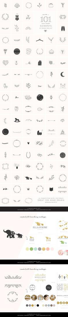 101 Hand Drawn Logo Elements EPS PSD by Maggie Molloy on @creativemarket #feminine #branding #logotemplate #logodesign #doodles #knitting #bloggers #photographers #handdrawn #designers #vintage #retro #creative #logotype #logoinspirations #icons