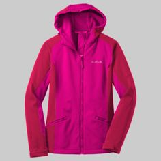 Embroidered SHM Ladies Gradient Jacket SHM - Strong Healthy Mom 93/7 poly/spandex woven shell bonded to 100% polyester microfleece with laminated film insert to repel water and wind 1000MM fabric waterproof rating 1000G/M2 fabric breathability rating Gently contoured silhouette Hood with drawcord and toggles for adjustability Raglan sleeves with articulated shoulders Adjustable tab cuffs with hook and loop closures Front zippered pockets Open hem