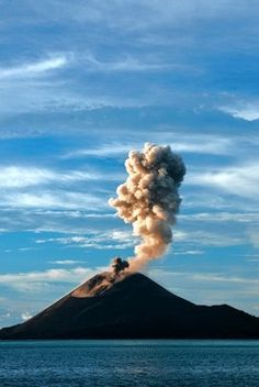 Mount Krakatoa is a volcanic island found in Indonesia. Its eruption in August 1883 is one of the biggest in recorded history. The eruption produced tsunamis which killed people. Bali, Recorded History, Garden Of Earthly Delights, Borobudur, Dutch Colonial, Natural Phenomena, Cool Landscapes, Archipelago, Natural World
