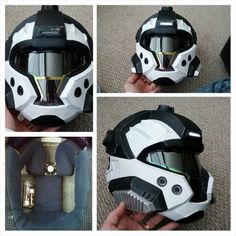 My Halo 3 CQB helmet, hand built from a pepakura file.