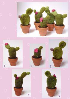 Cactus Cactus Cushion, Tiny Cactus, Cactus Plants, Felt Succulents, Neli Quilling, Felt Cake, Needle Felting Tutorials, Felt Decorations, Felt Food