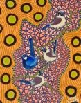 "Artist: 		KROCETTE    Title: 		""Superb Fairy-Wrens""    	A male superb fairy wren in his fluorescent breeding colours too attract a mate.      Medium:	Acrylic on Canvas    Price: 		$590    Size: 	355 x 280mm    Signed: 		KROCETTE 2012  Kidogo Art Institute - Gallery Aboriginal Artists, Wrens, Opening Night, Australian Artists, Home Art, Presents, Fairy, Kids Rugs, Birds"
