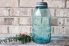 Vintage blue glass ATLAS strong shoulder mason by carouselandfolk, $20.00