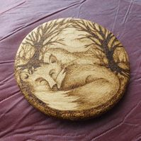 Sleeping Fox Minature Plaque - Custom Lising for Wendy