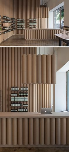 Moderner Shop Wohnideen Brooks + Scarpa entwickelt dieses Aesop-Ladengeschäft in der Innenstadt von LA, dass Funktionen 6inch Kartonrolle Wände, Möbel und Einbauten.