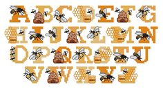 Home Format Fonts Embroidery Font: Bee Alphabet from Vermillion Stitchery