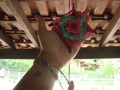 Mini mandala Olho de deus (Ojo di Dios) produção Ariane Brossi - Ubatuba Brasil