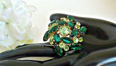 Vintage Brooch Emerald Green Mid Century Rhinestones Pin by TreasureCoveAlly on Etsy