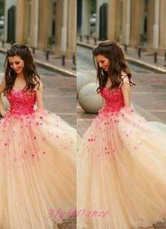 Modest Ball Gown Champagne Tulle Long Prom Dress 2016 Princess Red Flowers Evening Formal Gown For Teens