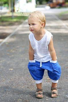 Natural linen harem shorts pants 100% linen trousers baby boy softened crumpled linen pocket. Ready to ship