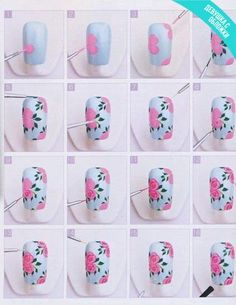 Image via Pink HIBISCUS solids and stripes nail art. Pretty, elegant, love it. Image via One stroke Blue Rose Nail Art Tutorial! Image via Peach rose nails photo Image via Tape Nail Art, Nail Art Diy, Cool Nail Art, Diy Nail Designs, Simple Nail Designs, Rose Nails, Flower Nails, Nail Tutorials, Design Tutorials