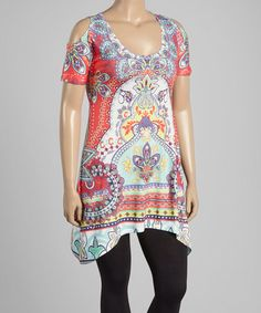 Loving this Pink & Blue Floral Arabesque Sidetail Tunic - Women & Plus on #zulily! #zulilyfinds